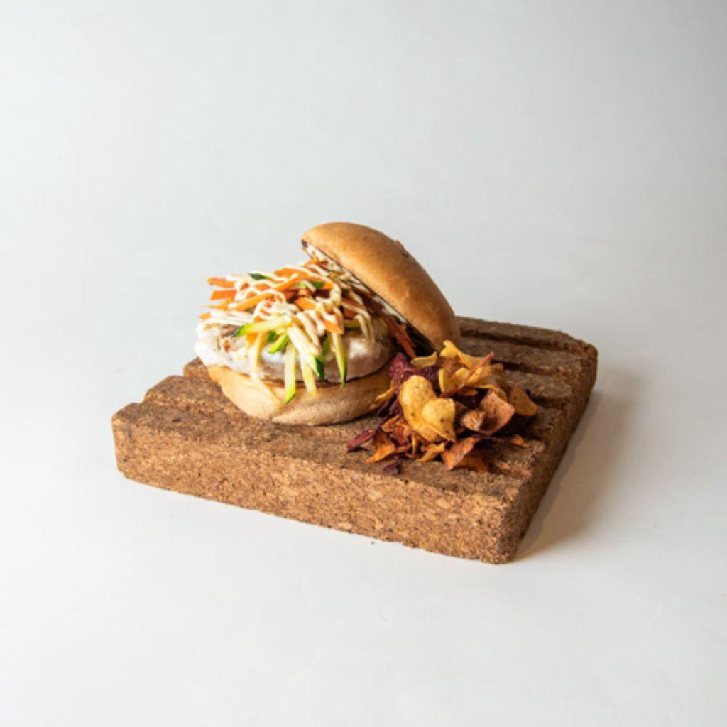 Hamburguesa de pollo y verduras al wok sin gluten