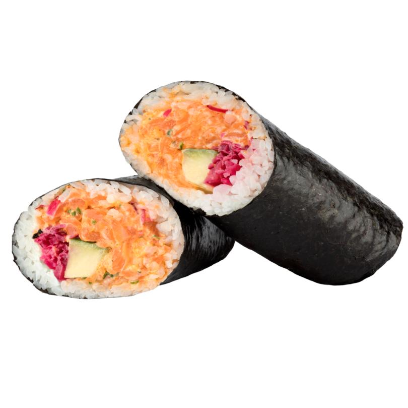 Sushi burrito de salmón picante