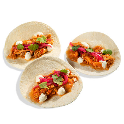 Tacos tinga de pollo